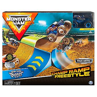Monster Jam Champ Ramp Freestyle and Truck - 1:64 Scale Son-Uva Digger
