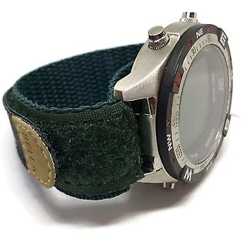Velcro watch strap 18mm green with stainless steel ring