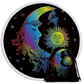 ملونة النوم القمر والشمس منشفة الشاطئ
