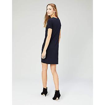 Daily Ritual Kvinnor & s Jersey Kortärmad V-Neck T-shirt Klänning, Marinblå, Liten