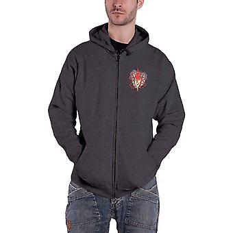 Slipknot Hoodie Burn Me Away Band Logo nouveau Officiel Mens Dark Grey Zippé