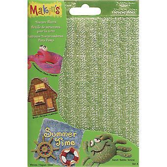 "Makin's Clay Texture Sheets 7""X5.5"" 4/Pkg-Set A (Sand, Wave, Brick & Cobblestone)"