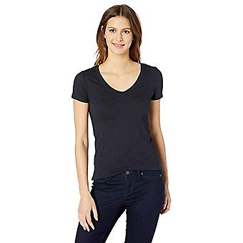 Brand - Daily Ritual Women's Washed Cotton Short-Sleeve Deep V-Neck T-...