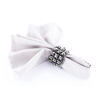 Napkin Ring Studed Crystal/Black/Silver - Set Of 4 Pieces