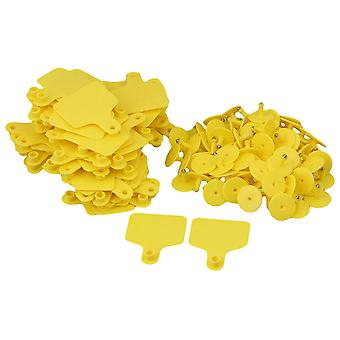 100pcs Large Poultry Goat Cattle Cow Ear Tags Yellow 6cmx7.3cm
