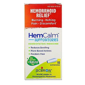 Boiron, HemCalm Suppositorier, Hemorrhoid Relief, 10 Suppositorier