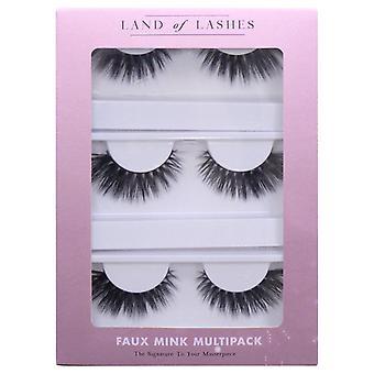 Land of Lashes Faux Mink False Eyelashes Multipack - Glam Fake Lashes - 3 Pairs