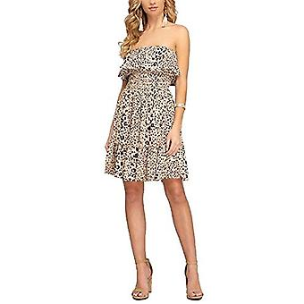 Avvio Women's Off Shoulder Leopard Print Ruffle Detail Cotton Dress (Large) T...