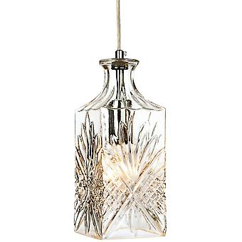 1 Light Ceiling Pendant Chrome, Clear Decorative Glass, E14