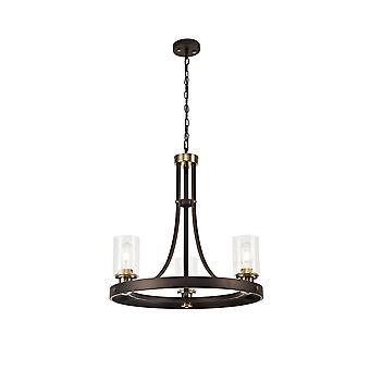 Éclairage Luminosa - Pendentif plafond 3 Léger E27, Oxyde brun, Bronze Avec Des nuances de verre clair