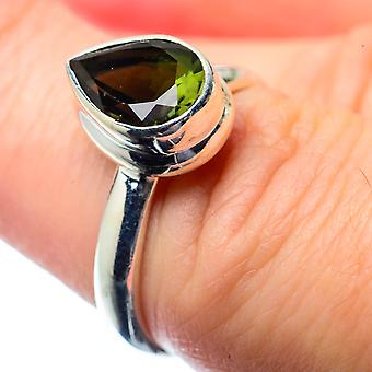 Faceted Chrome Diopside Ring Size 6.5 (925 Sterling Silver)  - Handmade Boho Vintage Jewelry RING26563