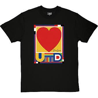 One Love Heart Musta Miesten T-paita