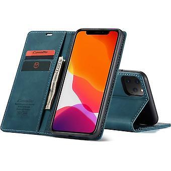 CaseMe iPhone 12 en iPhone 12 Pro Hoesje Blauw - Retro Wallet Slim - Portemonnee Bescherm Hoesje - Zacht Leder - 360° Bescherming - Kickstand Telefoonhouder - 2 Pashouder - Briefgeld Gleuf