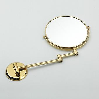 Double Side Bathroom Folding Brass Shave Makeup Mirror - Gold Plated Wall Mounted