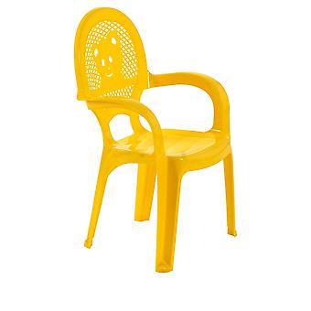 Resol 2 Piece Mini Kids Garden Chair Set - Plastic Outdoor Play Bedroom Children's Furniture - Yellow