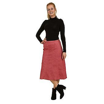 Calf-length red panelled denim skirt