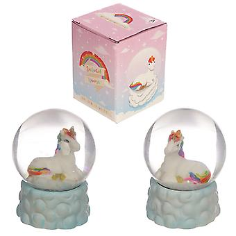 Collectable Rainbow Unicorn Snow Globe Ornament X 1 Pack
