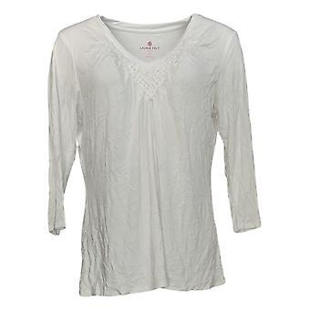 Laurie Felt Women's Top Knit Tricá V-Neck Long-Sleeve Branco A352674