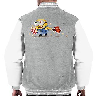 Despicable Me Bob The Minion Teddy Bear Popcorn Men's Chaqueta Varsity