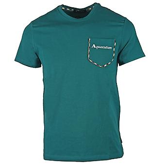 Aquascutum Check Trim Pocket Green T-Shirt