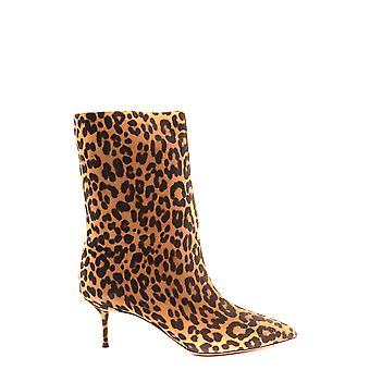 Aquazzura Ezbc440012 Women's Leopard Suede Ankle Boots