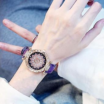 Kvinder ure Sæt, Starry Sky Ladies armbånd Watch Casual Læder Sports Clock