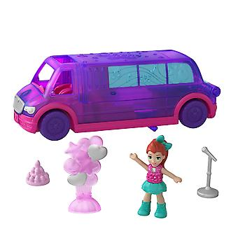 Polly pocket ggc41 pollyville party limo with play areas, lila doll & more, multicolour limousine, p