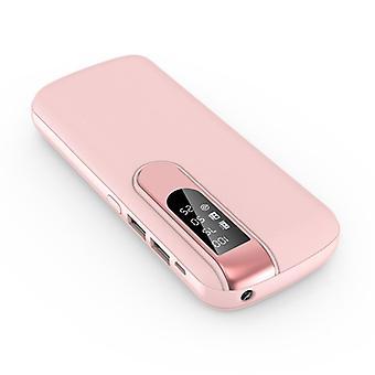 すべてのパワーバンク50,000mAhデュアル2x USBポート - LEDディスプレイと懐中電灯 - 外部緊急バッテリー充電器充電器ピンク
