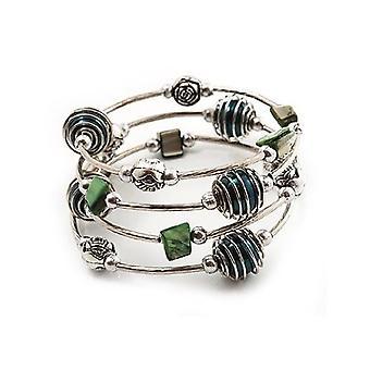 Silver Tone Beaded Multistrand Flex Bracelet - Forest Green
