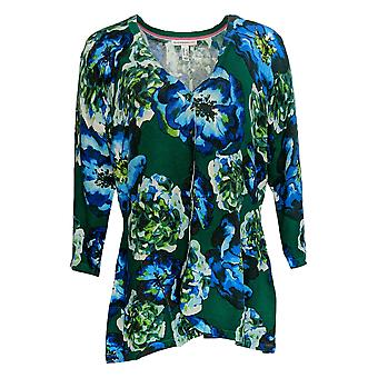Isaac Mizrahi Live! Women's Sweater Floral Printed Peplum GreenA310164