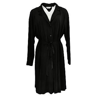 Susan Graver Women's Duster Every Day Liquid Knit Black A373707