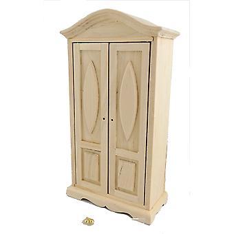 Dolls House Miniature Unfinished Natural Wood Bedroom Furntiure 2 Door Wardrobe