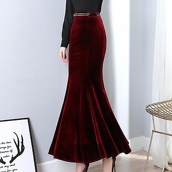 Autumn Vintage Velvet Maxi Long Skirt Fashion Women