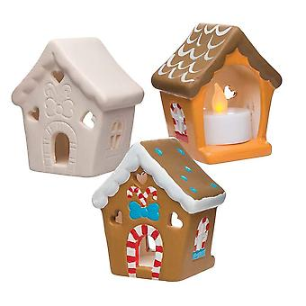 Baker ross ar693 gingerbread house ceramic tealight holder kits, for kids christmas crafts and gifts