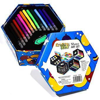 Kandytoys 52 pieza niños conjunto de arte - doblar fuera caja de arte, artesanía y artículos para colorear para los niños