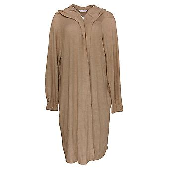 Chiunque maglione femminile spazzolato Hacci Wrap Cardigan Felpa con cappuccio Marrone A345302