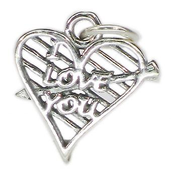 I Love You In Heart With Arrow Sterling Silver Charm .925 X 1 Love Charms - 4020