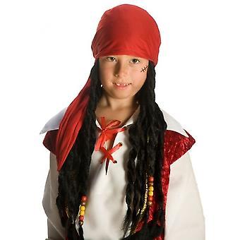 Piratenpruik Kind Junior Zwart / Rood