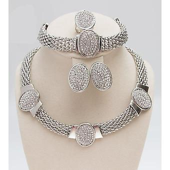 Oval Shape Silver Plated Clear Crystal Jewelry Set