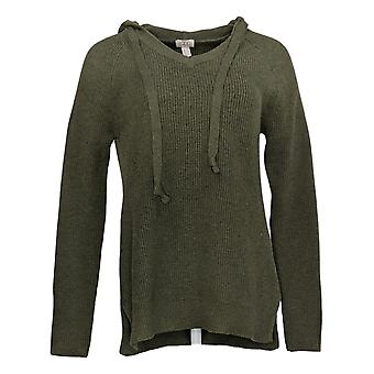 LOGO By Lori Goldstein Women's Sweater V Neck With Hood Green A385275