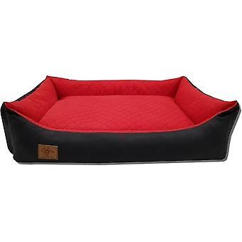 Hundkorg - 100 x 70 cm - tvättbart lock - vattentät - hundsäng - kudde - röd / svart