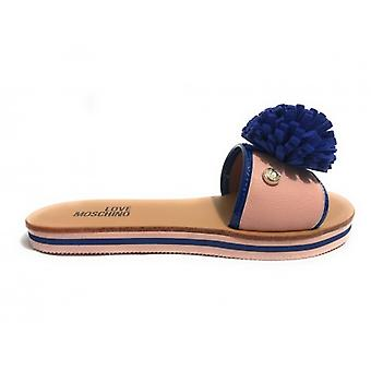 Zapatos de mujer Zapatero amor Moschino con Pompón Azul Ds18mo01