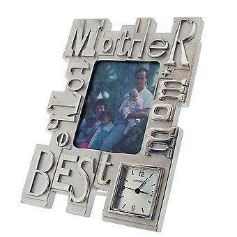 GTP To The Best Mom/Mother Photo Frame Chrome Plated on Alloy Novelty Desktop Collectors Miniature Clock IMP418S