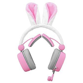 Casque d'oreilles lapin 3.5mm jeu bruit passif annulant 7.1 canal virtuel en direct