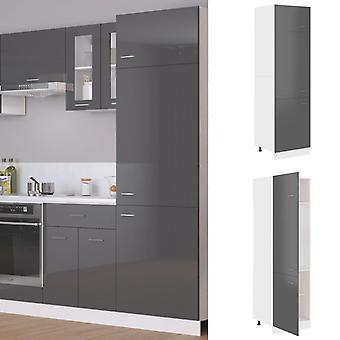 Refrigerator Cabinet High Gloss Grey 60x57x207 Cm Chipboard