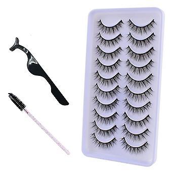 10pairs 3d Mink Makeup Natural Long False Eyelashes