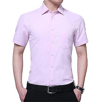 Yunyun Men's Lapel Twill Solid Color Business Short-sleeved Shirt