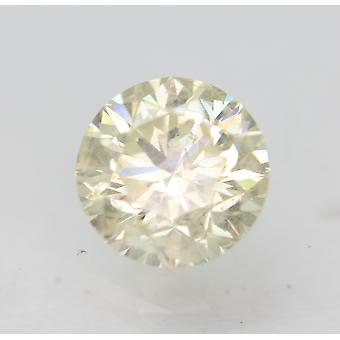Cert 0.91 Carat Light Yellow SI1 Round Brilliant Enhanced Natural Diamond 6.04mm