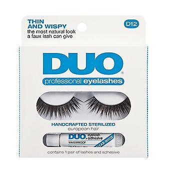 Duo D12 Tynt og wispy øye lash & lim sett - 100% menneskehår