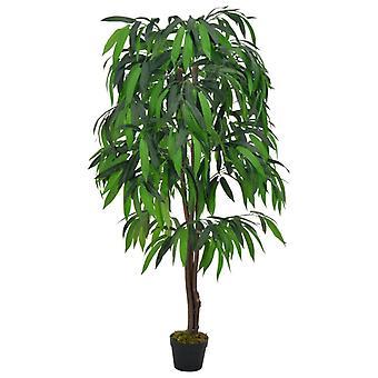 vidaXL شجرة المانجو النباتية الاصطناعية مع وعاء أخضر 140 سم